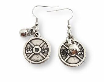 Gym Earrings Weight Plate 25lbs & Kettlebell -Fitness Earrings - Body Building Earrings - Gift for Gym Lovers - Crossfit Girls Earrings Gift