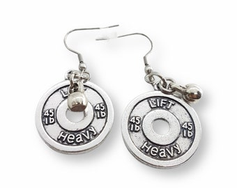 Gym Earrings Lift Heavy Weight Plate 45lbs & Kettlebell- Fitness Earrings - Weight Lifting- Barbell Earrings - Crossfit Girl - Exercise Gift