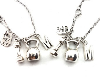 Set 2 Kettlebell Necklace Gym Gift  Workout Gift - Fitness Gift - Initial Gift- BFF - strength jewelry - Gym -Fitness Girl -Crossfit Gift