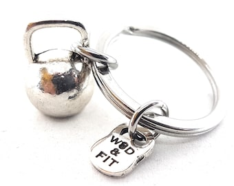 Kettlebell Keychain - Workout Gifts -Exercise Gift - Fitness Gifts - Gym Gift - Bodybuilding Gift - Coach Gift - Trainer Gift - Wod & Fit