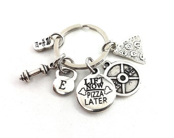 Keyring Pizza Lift Now Pizza Later,Passion Pizza & Weight.Fitness Gift,Kettlebell,Bodybuilding Jewelry,Gym,Crossfit,Initial Keychain Gift