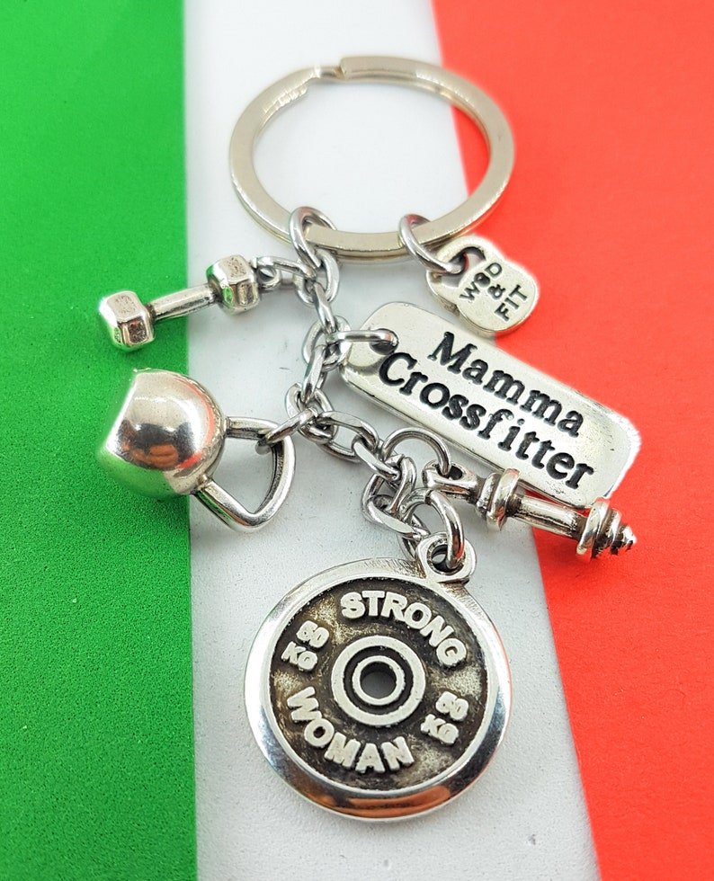 Keychain Italian Show Workout Motivational FitPlate,Kettlebell,Dumbbell.Fitness,Gym Gift,Bodybuilding,Custom Jewels,Crossfit,Wod and Fit