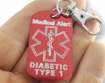 Emergency Medical Alert Customizable Engraved Aluminum 50x30 NO LASER - Medical Alert Keychain - Diabetes - Allergy - Medical id tag