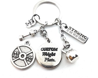 Custom KeyChain Fran 45lbs Workout.Customizable Keychain,we can put your Name,Draw or Write your Motivational Word.Fitness,Bodybuilding,Gym