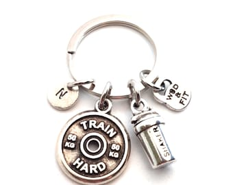 Keyring Shaker Weight Plate Motivation Initial - Bodybuilding Gift - Coach Gift - Crossfit Key Ring - Crosstraining - Gym Gifts- Wod & Fit
