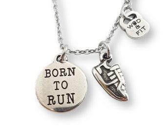 Runner Necklace - Runner Gift - Motivation Gift - Gift for Runner - Motivational Gift - Born to Run - Running Girl - 26 2 - 13 1 - Wod & Fit