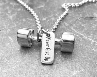 I Love Fitness Heart Dumbbell Necklace y Motivational Word - Gym Gifts -Crossfit Girl -Motivation Gift -Girlfriend gift- Love Gift-Wod & Fit