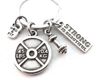 Keychain Weight Plate Gwen Workout,Fitness Gift,Bodybuilding,Gym Coach Gift,weight lifting,Gym jewelry,Motivational Gift,Crosstraining Gift