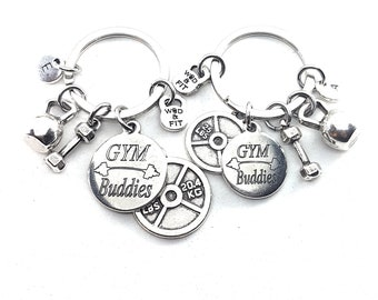 Couple Keychain GYM Buddies & Weight Plate 25lbs+45lbs Initial.BFF Gift,Fitness,Crossfit,Best Friends Gift,Gym Buddies Gift,Partner Gift