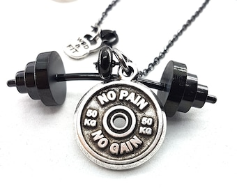 Necklace Power Clean Workout Barbell All Black Gun & Motivational Weight Plate Bodybuilding,Gym Gift,Barbell Jewelry,Weight Lifting,Fitness