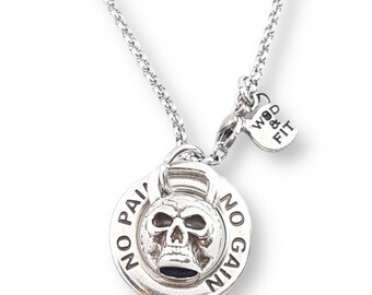 Gym Necklace Skull Kettlebell & Motivational Ring -  Bodybuilding Gifts- Crossfit Gift - Crossfit Girl Gift - Skull Lovers Gift- Wod and Fit