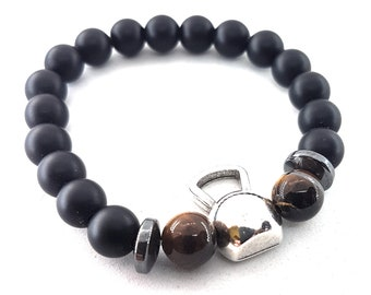 Bracelet Kettlebell Swings Workout Natural Stone Unisex Braclelet - Bodybuilding - Fitness Jewels - Gym Gift - Crossfit Gift - Fitness Gift