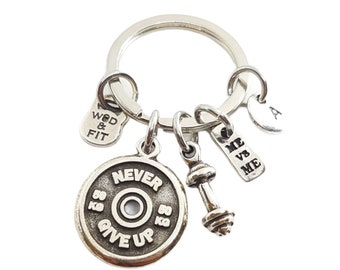 Gym Motivational Keyring Me vs Me & Weight Plate - Gym Gift Weight Lifter- Fitness Gift- Bodybuilding- Crossfit Gift- Be Strong- Wod and Fit