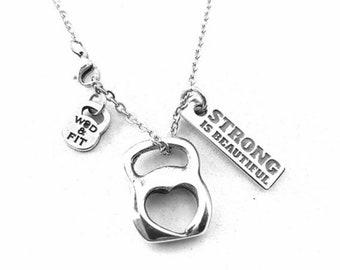 Fitness Girl Necklace Kettlebell Heart & Motivation -Custom Neckalce- Fit Mom -Gym Woman Gift -Muscle Woman - Custom Motivation -Strong girl