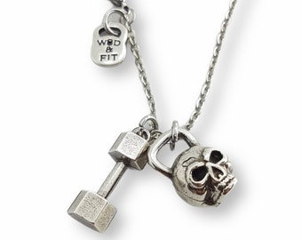 Gym Kettlebell Skull & Medium Dumbell Necklace - Regalo Motivational - Gym Gift - Bodybuilding Necklace- Crossfit Gift- Wod and Fit Gift
