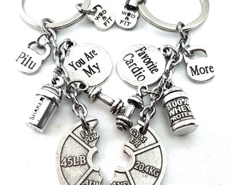 Custom Couple Keychain Always Together, Saker & 100%  Whey Protein Gym Motivation.Bodybuilding,FitGirl,Custom Gift,Crossfit,Gift for Couple