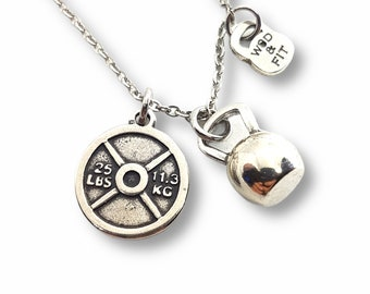 Gym Weight Necklace & Kettlebell - Fitness Gifts - Gym gifts- Bodybuilding - Fitness lover gifts - Crossfit Gifts - Gym motivation gift