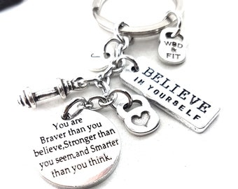 Dumbbell Keychain You are braver than you believe..Initial Letter & Motivation Gym Gift,Fitness Jewelry,Kettlebell,Mom Gift,Fitness Girl Wod