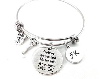 Bracelet Lets Go! I'm STRONGER than my Excuses Initial,Motivation,Fitness Gift,Run Jewels,Kettlebell,Running Gift,Inspirational Gift,Runner