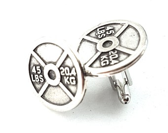 Gym Cufflinks Weight Plate 45lbs Barbell Workout Gifts- Weightlifter - Bodybuilding Gift- Dad Gift - Crossfit - Personal Trainer -Wod & Fit