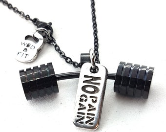 Necklace Strongman Workout Black Barbell & Motivational Word Bodybuilding,Gym motivation,FitnesJewelry,Crosstraining,workout gift,Coach Gift