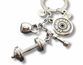 Gym Barbell Keychain Miagi Workout Gift - Fitness gifts - workout motivation - crossfit gifts - Weight Lifting - Exercise gift -by Wod & Fit