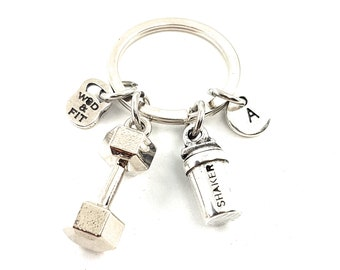 Keyring Fit Protein Shaker & Weight - Kettlebell - Gym Gifts - Bodybuilding- Crossfit Keychain - Boxing - Protein Shaker - Fitness Keychain