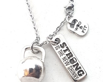 Necklace Big Kettlebell Workout & Motivation Fitness Jewels,Bodybuilding,Coach Gift,Fitmom jewelry,CrossfitGift,Personal Trainer Gift,Sport