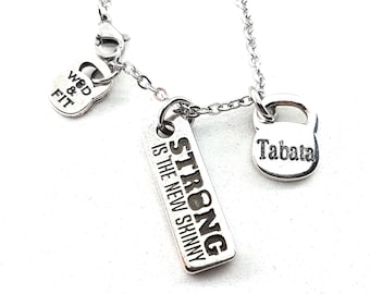 Necklace Motivation & Kettlebell Initial Bodybuilding Jewelry Fitness,Motivational,Coach Gift,Gym Jewels,Bodybuilding Jewelry,Crossfit Gift