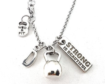 Kettlebell Necklace Kettlebell Tabata Workout,Motivation & Initial Letter.Fitness Jewels,Bodybuilding Jewels,Gym Gift,Crossfit Girl,Sport