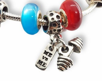 Gym Charms Me vs Me & Weight for Bracelet Charm- Fitness Charms- Crossfit Charms- Bracelet Charms- Body Building Bracelet - Wod and Fit