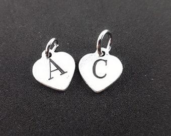 Custom Heart Charm Initial letter - Custom name - Custom Tag - Heart Custom Tag - Name tags - personalized name - NHame Gift -Wod & Fit Gift