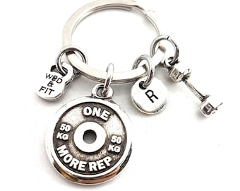 Gym Motivation Key Ring Weight Plate Dumbbell & Initial - Weightlifting - Workout Gift - Bodybuilding - Gym Gift - Personal Trainer - Sport