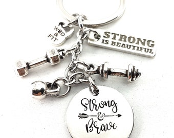 Keychain Strong & Brave,Dumbbell,Barbell,Kettlebell Your Motivational Word.Gym Gift,Bodybuilding,Fitness,Crossfit Gift,Fit Mom, Fit Girl,Wod
