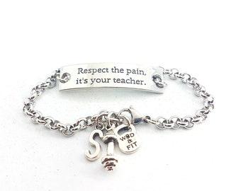 Motivational Bracelet Respect the pain, it's your teacher.Dumbbell & Initial leter.Sport,Fitness Fitmom Fit Girl Gym,Initial Gift,Wod Cross