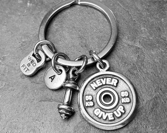 Gym Keyring Power Snatch Workout Motivation gift -Weight Plates Barbell Gift - Weight lifting -Fitness -Bodybuilding- Crossfit Wod & Fit