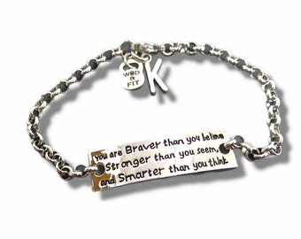 Bracelet Motivation You are Braver than you believe.. Initial Gift -Fit Girl - Motivation Gift - Fit Mom -Fitness Girl Gift - Wod & Fit