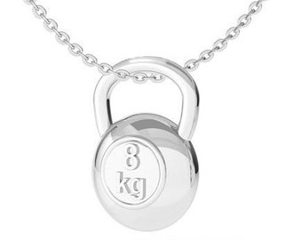 Necklace Silver Kettlebell  Me vs Me Workout Bodybuilding Jewelry,Fitness Jewelry,Coach Gift,CrossFit Jewels,Gym,Fit Mom,Fit Girl Gift,Sport