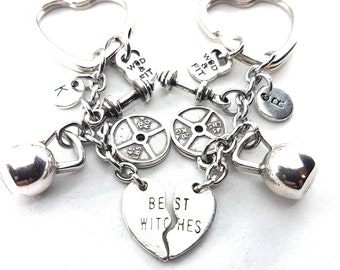 Gym Couples Keychain Best Witches Kettlebell Workout Gift - BFF Gifts - Motivational Gift - Strong girl - Girl Power - cross fit -Wod & Fit