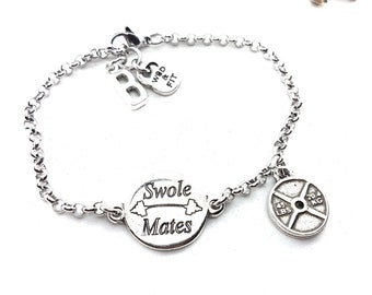 Fitness Bracelet Swole Mates Motivation - Fit Girl - BFF Gifts - Body Building - Cross fit Gift - Muscle Woman - Fit Mom - Wod & Fit Gift