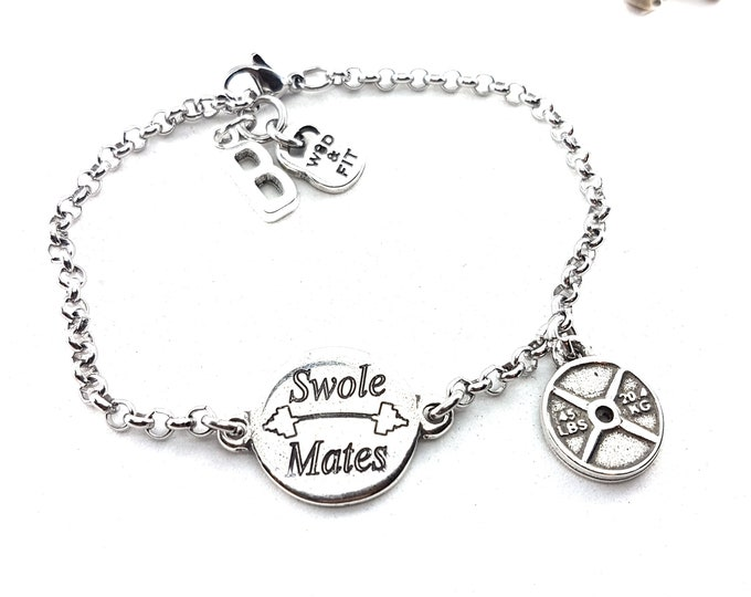 Featured listing image: Fitness Bracelet Swole Mates Motivation - Fit Girl - BFF Gifts - Body Building - Cross fit Gift - Muscle Woman - Fit Mom - Wod & Fit Gift