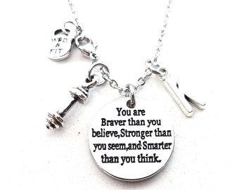 Motivational Necklace You are Braver than you believe...Dumbbell & Initial.Motivation,Personalized,Fitness,Bodybuilding,Gym,Custom necklace