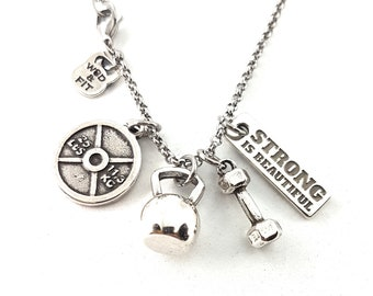 Necklace Beast 4 Workout Kettlebell Dumbbell & Motivation.Gym Gifts,Bodybuilding,Motivational Jewelry,Coach gift,Fitness Jewelry,Wod and Fit