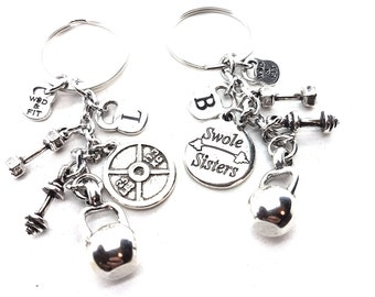 Couple Keychain Swole Sisters & Weight Plate 25lbs+25lbs Kettlebell Fitness Jewelry Crossfit,Couples Gift,Bodybuilding,Fitness,Gym Partner