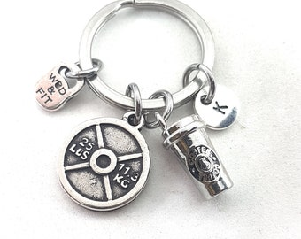 Gym gift  Iron & Coffe Initial Keyring - coffee lover - Wokout Gift - coffee gifts - Best Coach - Personal Trainer - bff gifts - Gym Gifts