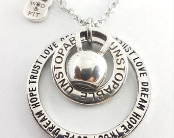 Fitness Lovers Necklace Kettlebell Motivation Gift - fit girl gift -Exercise gift - Gym gifts - Mom Life - Gym gifts for her - by Wod & Fit