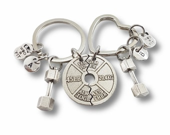 Fitness Keyrings, Set of 2, Gym Buddies, Gym Buddy,Weight Plate Always Together & Dumbbell Best Friends- Gym Gifts - Crossfit - Bodybuilding