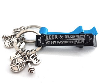 Gym Gift Keychain Beer & Burpees At my Favorite BAR - Workout Gift- Custom Gym Gift - Love Gym - Cross fit Gift - Gym Man -Wod and Fit
