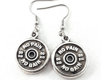 Earrings Motivational FitPlate Weight Plate 50kg GymJewelry,Bodybuilding,Weight Lifting,Fitness Jewelry,Weight lifter,Power lifter,Wod & Fit
