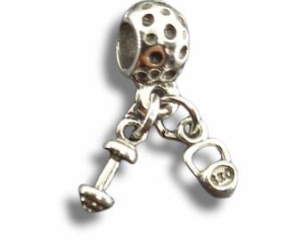 Dumbbell & Kettlebell Bracelet Charm - Fitness Girl -  Weights for Bracelet - Fitness Charms- Crossfit Charms- Bracelet Charms- Wod and Fit